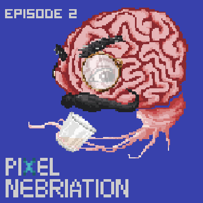 Pixel image of a brain having a drink